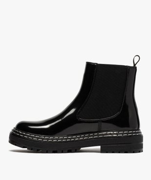 Boots femme style chelsea vernies à semelle crantée vue3 - Nikesneakers (CASUAL) - Nikesneakers