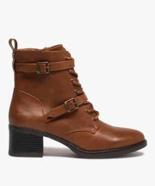 Boots femme unies à talon avec lacets et brides vue1 - GEMO(URBAIN) - GEMO