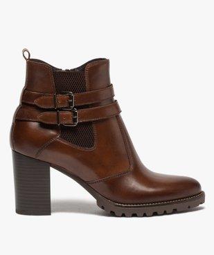 Boots femme à talon rainuré dessus en cuir uni vue1 - GEMO(URBAIN) - GEMO