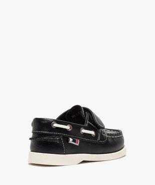 Chaussures bateau garçon dessus cuir à fermeture scratch vue4 - GEMO (ENFANT) - GEMO