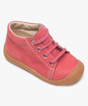 Chaussures premiers pas bébé fille en cuir à lacets vue5 - Nikesneakers(BEBE DEBT) - Nikesneakers