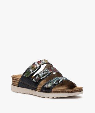 Sandales confort femme mules à talon compensé colorées vue2 - GEMO (CONFORT) - GEMO