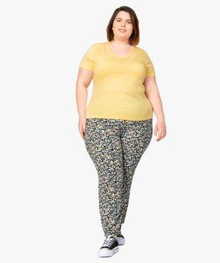 Tee-shirt femme à manches courtes et col V vue5 - GEMO (G TAILLE) - GEMO