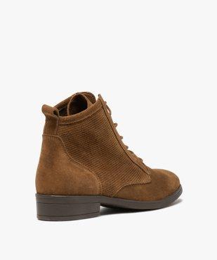 Boots femme à talon plat dessus cuir style godillots vue4 - GEMO (CASUAL) - GEMO