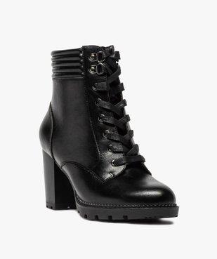 Boots femme à talon col rembourré et semelle crantée vue2 - GEMO(URBAIN) - GEMO