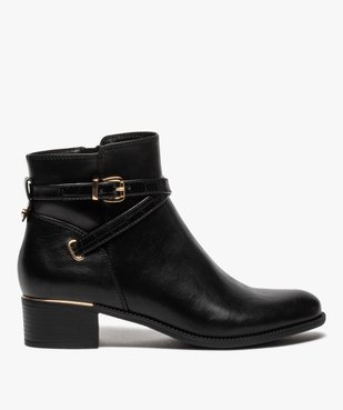 Boots femme unis à talon carré et finitions métallisées vue1 - GEMO (CASUAL) - GEMO