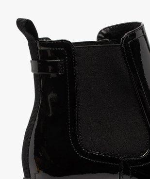 Boots femme à talon carré et semelle crantée dessus verni vue6 - GEMO(URBAIN) - GEMO