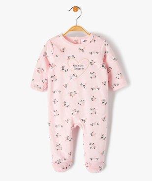Pyjama bébé fille en velours à motifs fleuris vue1 - GEMO(BB COUCHE) - GEMO