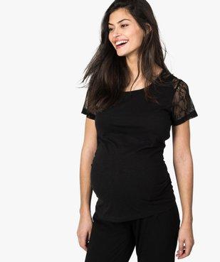 Tee-shirt de grossesse en coton bio avec manches en dentelle vue1 - GEMO C4G MATERN - GEMO