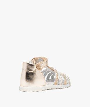 Sandales bébé fille en cuir métallisé - Bopy vue4 - BOPY - GEMO