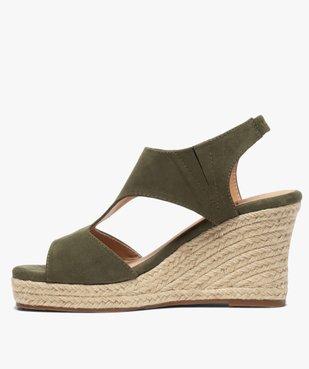 Sandales femme unies à talon compensé dessus couvrant vue3 - GEMO(URBAIN) - GEMO