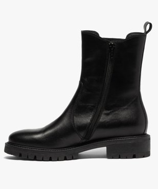 Boots femme unis style chelsea à semelle crantée vue3 - GEMO (CASUAL) - GEMO