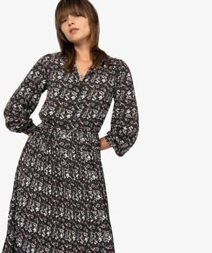 Robe femme midi imprimée à manches longues et col chemise  vue5 - GEMO(FEMME PAP) - GEMO