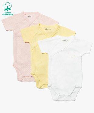 Body bébé fille assortis à manches courtes (lot de 3) vue1 - GEMO C4G BEBE - GEMO