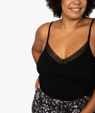 Débardeur femme grande taille en maille fluide et dentelle vue2 - GEMO(HOMWR FEM) - GEMO