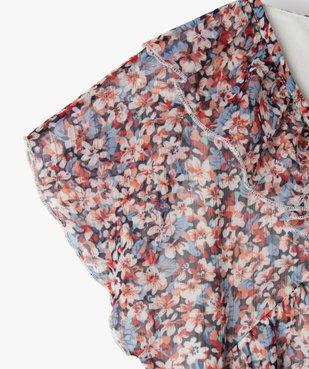 Robe fille à manches courtes en voile à motifs fleuris vue2 - GEMO (ENFANT) - GEMO