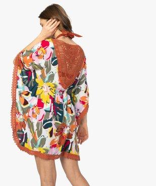 Robe de plage femme style bohème à fleurs et dos macramé vue3 - GEMO (PLAGE) - GEMO