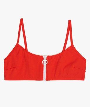 Haut de maillot de bain fille brassière à zip vue1 - GEMO (JUNIOR) - GEMO