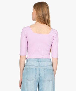 Tee-shirt femme à manches courtes en maille côtelée vue3 - Nikesneakers(FEMME PAP) - Nikesneakers