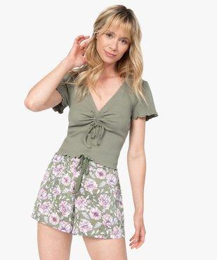 Bas de pyjama femme forme short à motifs fleuris vue5 - GEMO(HOMWR FEM) - GEMO