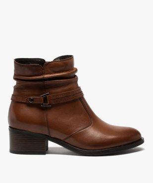 Boots femme à talon large et tige plissée en cuir vue1 - GEMO (CASUAL) - GEMO