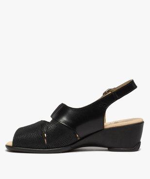 Sandales femme confort en cuir uni et talon compensé vue3 - GEMO (CONFORT) - GEMO
