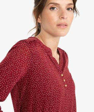 Tee-shirt femme manches 3/4 imprimé à col original vue2 - GEMO C4G FEMME - GEMO