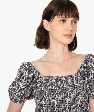 Tee-shirt femme avec buste smocké et manches ballon vue2 - GEMO(FEMME PAP) - GEMO