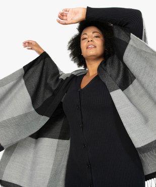 Poncho femme à larges carreaux avec finitions franges. vue1 - GEMO (ACCESS) - GEMO