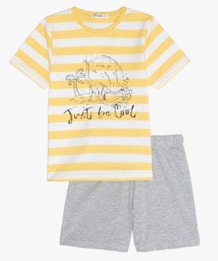 Pyjashort garçon avec haut rayé et motif dinosaure vue1 - GEMO (ENFANT) - GEMO