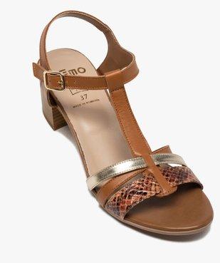Sandales femme à talon carré et brides en cuir vue5 - GEMO(URBAIN) - GEMO