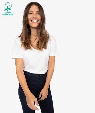 Tee-shirt femme à col V et manches courtes vue1 - GEMO(FEMME PAP) - GEMO