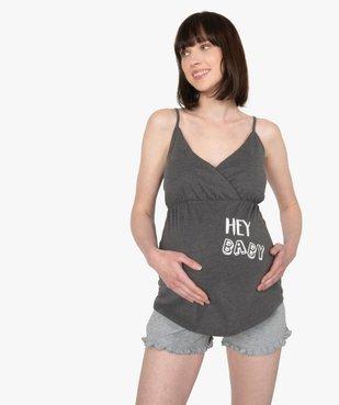 Pyjama de grossesse 2 pièces : débardeur à bretelles et short vue1 - GEMO (MATER) - GEMO