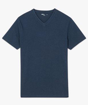 Tee-shirt homme uni à col V en coton bio   vue4 - GEMO C4G HOMME - GEMO