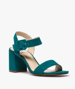 Sandales femme unies à talon carré et bride à boucle vue2 - GEMO(URBAIN) - GEMO