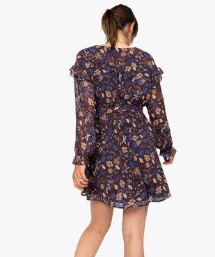 Robe femme courte en voile à motifs fleuris vue3 - GEMO(FEMME PAP) - GEMO