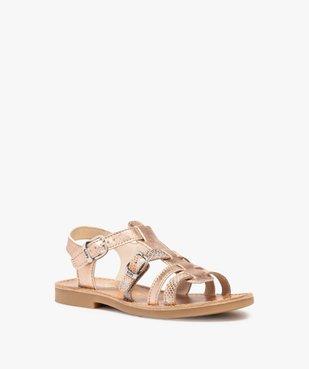 Sandales fille ajustables en cuir métallisé - Bopy vue2 - BOPY - GEMO