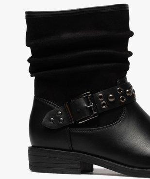 Boots femme style motardes unies à talon plat vue6 - GEMO (CASUAL) - GEMO