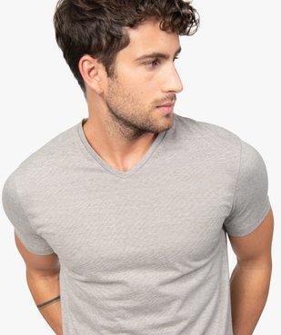 Tee-shirt homme à manches courtes et col V coupe slim vue2 - GEMO (HOMME) - GEMO