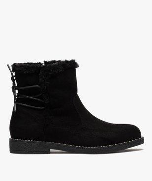 Boots fourrées femme à talon plat et suédine unie vue1 - GEMO (CASUAL) - GEMO