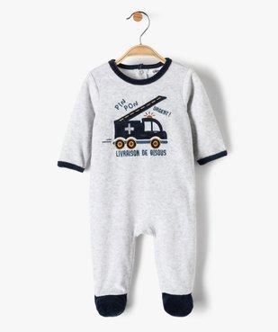 Pyjama bébé garçon en velours avec motif camion de pompiers vue1 - GEMO(BB COUCHE) - GEMO