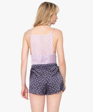 Haut de pyjama femme à fines bretelles et dos dentelle vue3 - GEMO(HOMWR FEM) - GEMO