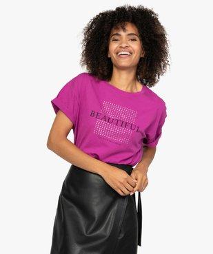 Tee-shirt femme à manches courtes et strass vue1 - GEMO(FEMME PAP) - GEMO