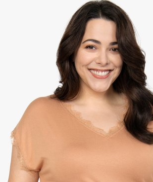 Tee-shirt femme sans manches avec finitions dentelle vue2 - GEMO (G TAILLE) - GEMO