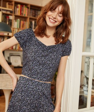 Haut de pyjama femme à motifs fleuris – Lulu Castagnette vue6 - LULUCASTAGNETTE - GEMO