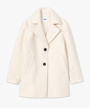 Manteau femme mi-long en matière bouclette à col tailleur vue4 - GEMO(FEMME PAP) - GEMO
