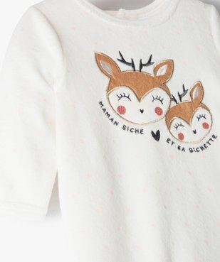 Pyjama dors-bien bébé fille en velours avec motif biches vue2 - GEMO(BB COUCHE) - GEMO