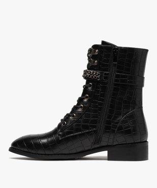 Boots femme unis à talon plat imitation croco style rock vue3 - GEMO (CASUAL) - GEMO