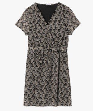 Robe femme imprimée à fines rayures pailletées vue4 - GEMO(FEMME PAP) - GEMO
