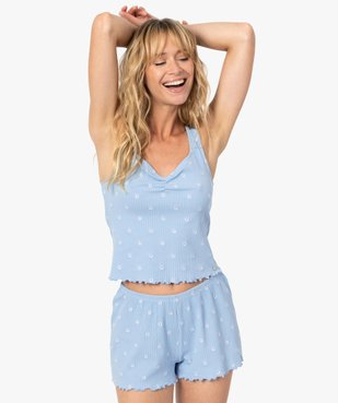 Haut de pyjama femme forme débardeur fleuri - LuluCastagnette vue1 - LULUCASTAGNETTE - GEMO